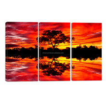 3 Panels Red Sunset Scenery Tree Photo Wall Picture Landscape Canvas Art Painting for Living Room/SJMT1955