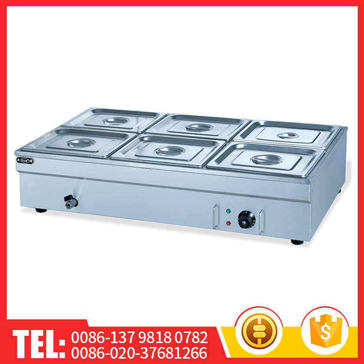 Topkat High-Efficiency Restaurant Electric Bain Marie Food Warmer For Catering With Six Basin