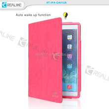 luxury leather auto sleep wake function metal bumper case for ipad air
