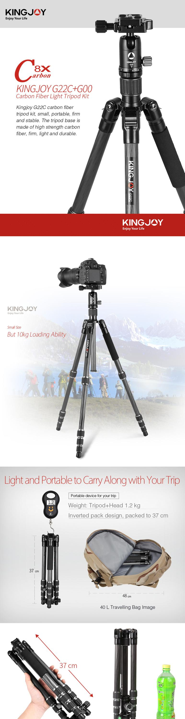 KINGJOY 2018 new Flexible Carbon Fiber 5 section Professional Flexible Camera Tripod Stand with Ball Head