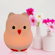 Premium 10 Colors Owl Led Usb Children Animal Night Light Silicone Soft Cartoon Baby Nursery Lamp Breathing Led Night Light