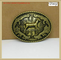 BUC9242 sheep simple oval frame gold belt buckle