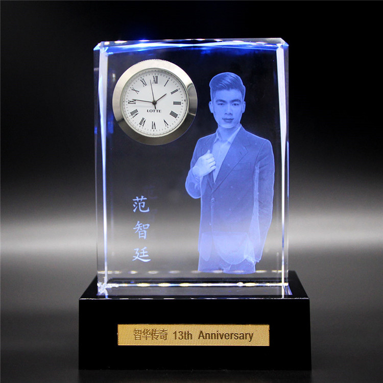 Hot selling Clear Custom Hand Made crystal bureauklok cube Voor Wedding Souvenir
