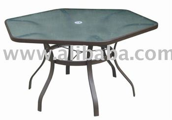 Patio furniture steel 52 hexagonal glass dining patio for 52 table view