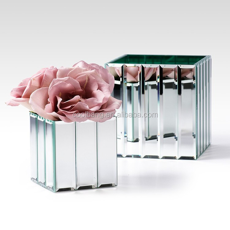 Wholesale mirrored glass flower vases for orchid vase,rose vase