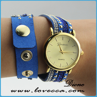 Wholesale Colorful Vintage Vogue delicate watches women Hot Selling Weave Wrap Chain Leather Bracelet Wristwatches Watches