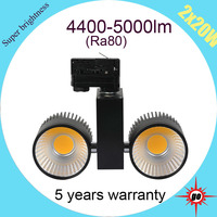 5 years warranty integrated design Ra80 Clothing shop lighting dimmable 40W COB LED track light