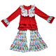 Lovely cotton red ruffle top children winter clothing outfit cats pants girl sports clothes sets