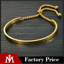 2017 Women Gold Plated Stainless Steel Adjustable Jewellery Rolo Chain Bracelet Wire Bangle