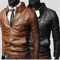 Hot sale casual zipper men's leather jackets winter warm coat 3 colors M- XXXL