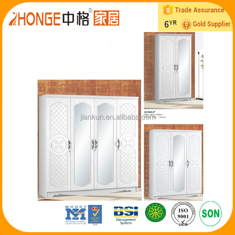 9443 model white color 3 door wardrobe with mirror