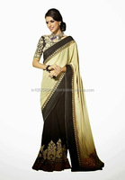 Manufacturing Brand New Party Wear Georgette Sarees Hand Embroidery Designer Sarees
