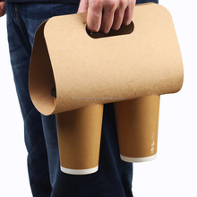 Disposable custom size logo printing 2 cup kraft paper coffee drink carrier with handles,take away coffee paper cup holder