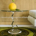 clear acrylic end table with glass top