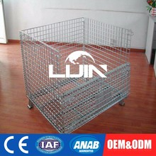 OEM Service Collapsible Wire Mesh Box Container Metal Storage Cage With 4 Wheels
