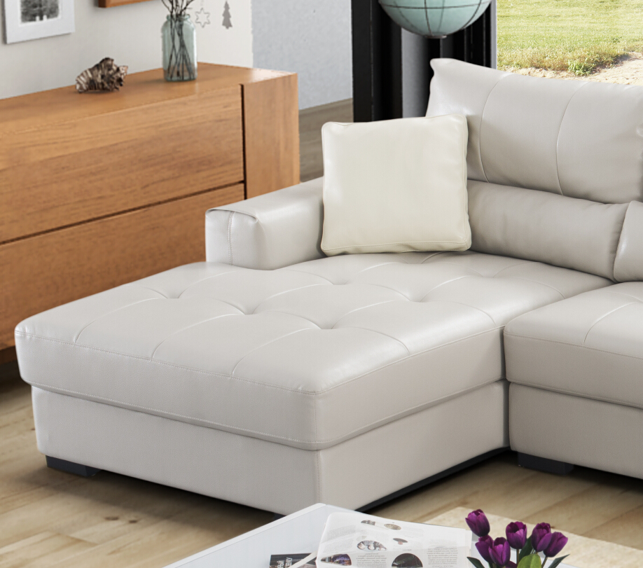 Top Grade Latest L Shaped Sofa Designs Leather Material