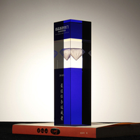 Engraved Blue Prism Crystal Trophy Pillar Design 3D etched diamond Blank glass award for excellent employees