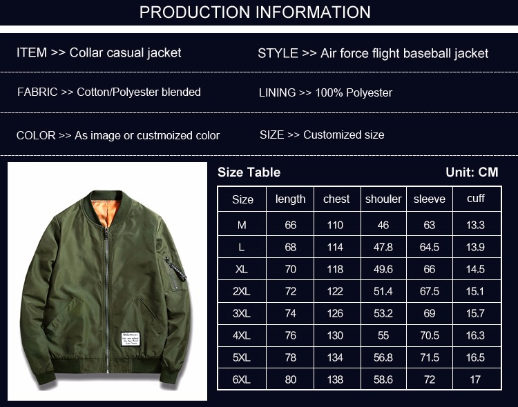 2017 sping new arrive MA 1 flight jacket 4 colors custom made light weight wind proof plain bomber jacket with arm pocket