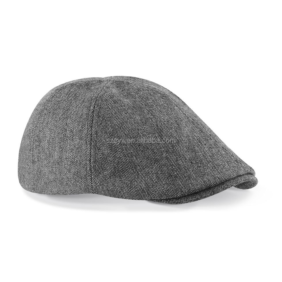 Two-Tone Tweed Flat Ivy Cap Gatsby Irish Cabbie Men Women Hat