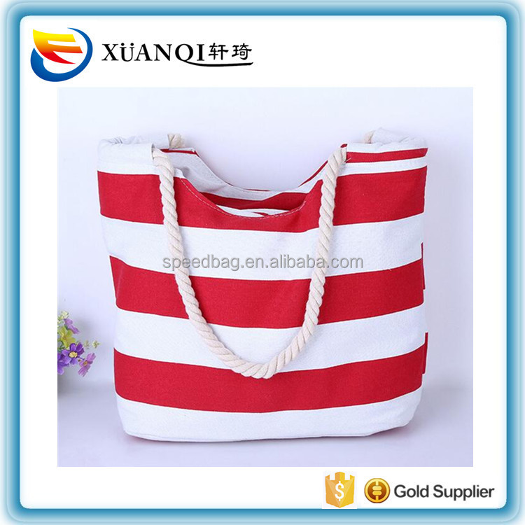 Red white canvas rope handle beach bag stripe canvas beach tote bag