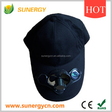 100% cotton cute and colorful cap with solar panel and mini fan