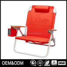 Pvc fabric for folding backpack reclining short beach chair with headrest