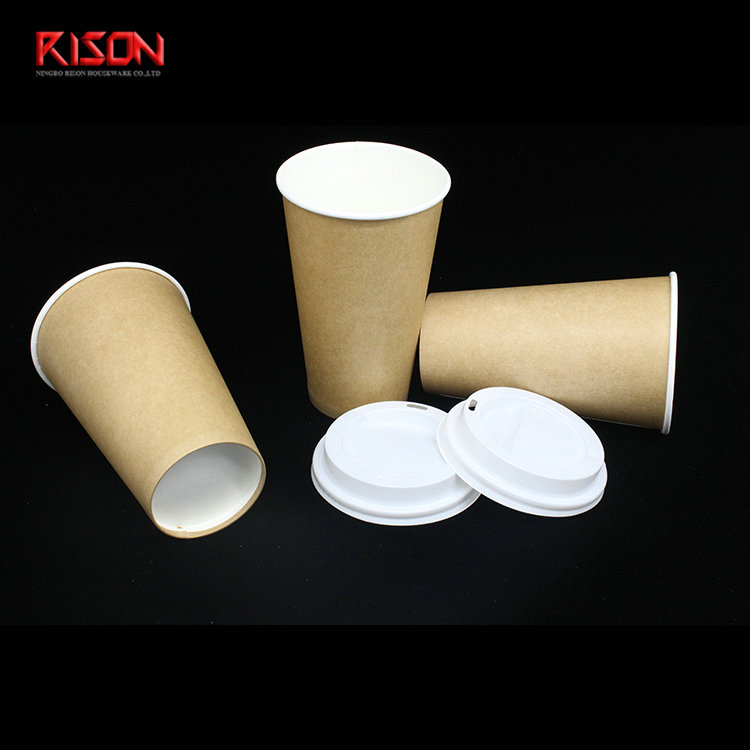 kraft paper cup hot coffee paper cup single wall paper cup biodegradable paper cup with biodegradable pla plastic lid
