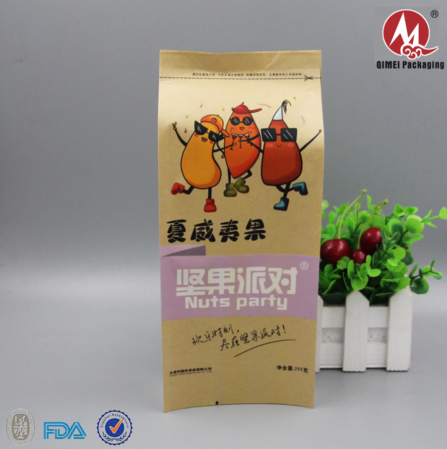 Good price disposable stand up snack food packaging bag with kraft paper