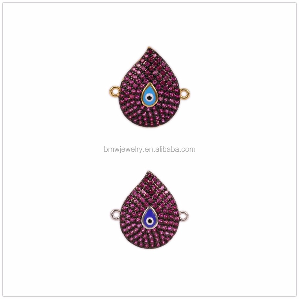 Wholesale Teardrop fuchsia CZ Micro Pave Connector for Jewelry making, Double Loops Evil EYE Connector Design