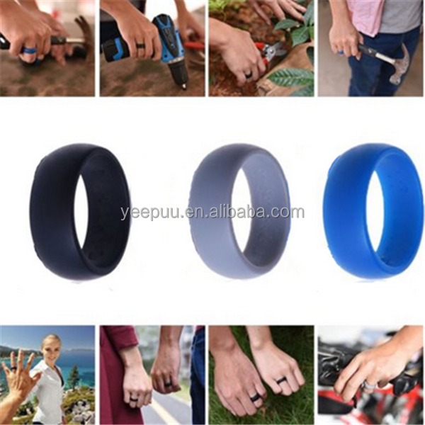 Silicone Wedding Rings - 5 Ring Pack Silicone Wedding Ring for Women Man Unisex