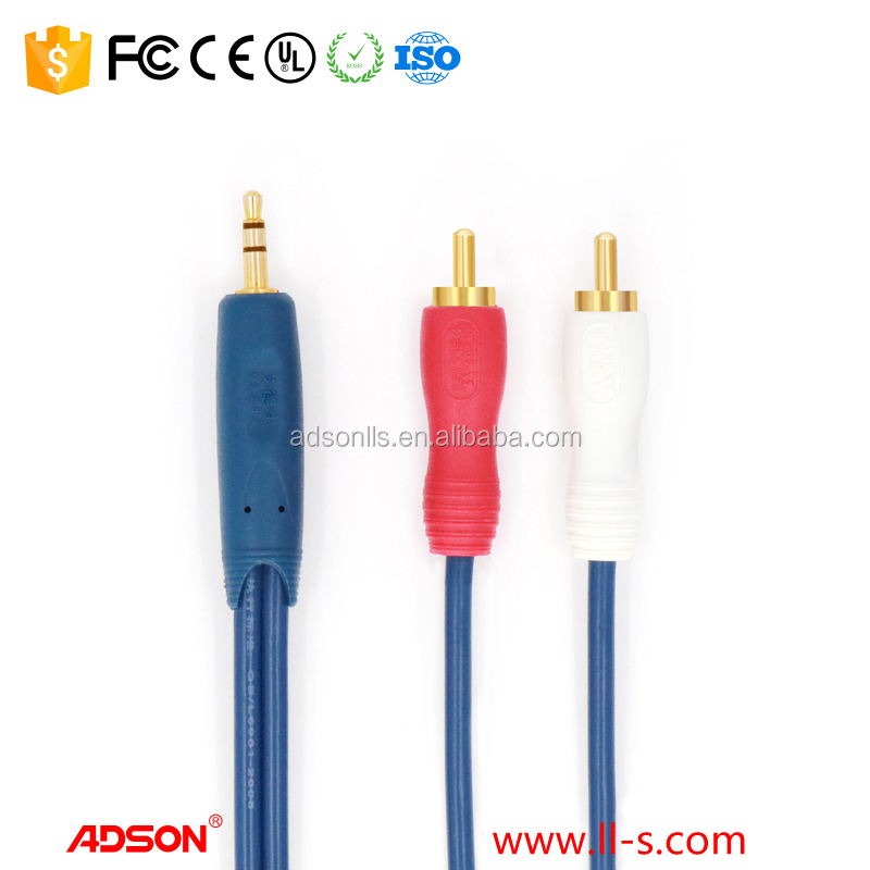 DC3.5mm to 2RCA Audio cable Support left right double sound channels transmission