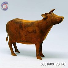 hot sale unique rusty iron cow for home and garden decor