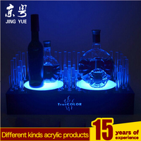 Factory custom square led base acrylic pmma bottle display rack acrylic led wine bottle display for two bottles