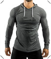 2015 new design lightweight super soft spandex tri blend Muscle Fit gym Hoodie in dark gray custom for men fitness