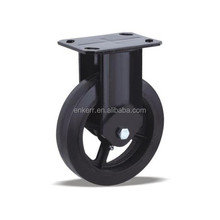 Iron core black elastic rubber fixed caster wheel,350-650kgs load capacity