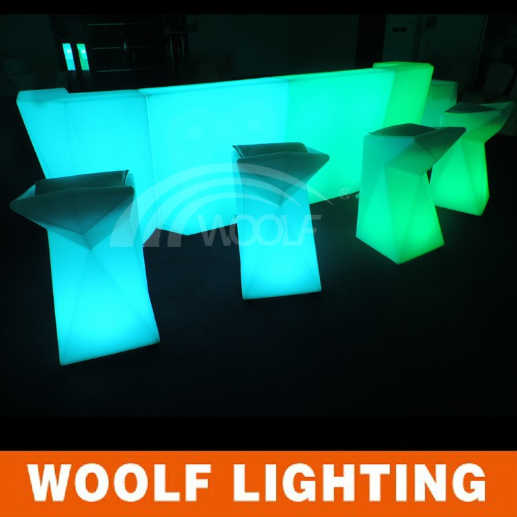 led modern light up bar table hotel furniture