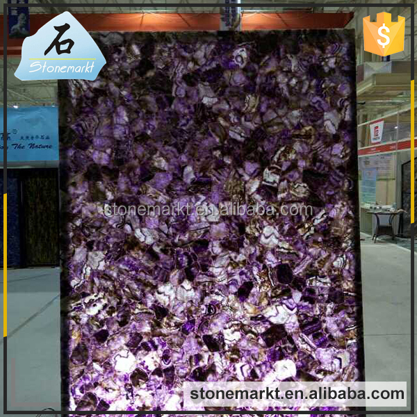 Luxury hotel decoration semi precious purple agate amethyst gem stone slab