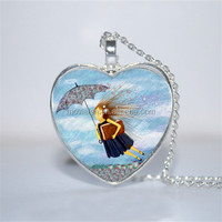 Practically Perfect In Every Way Pendant, Mary Poppins Inspired heart Necklace Glass Photo Cabochon Necklace