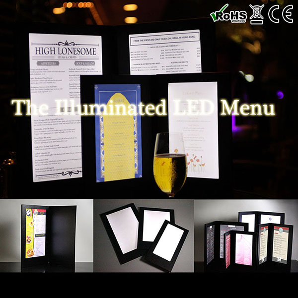 Custom Non-standard glow led menu with different sizes