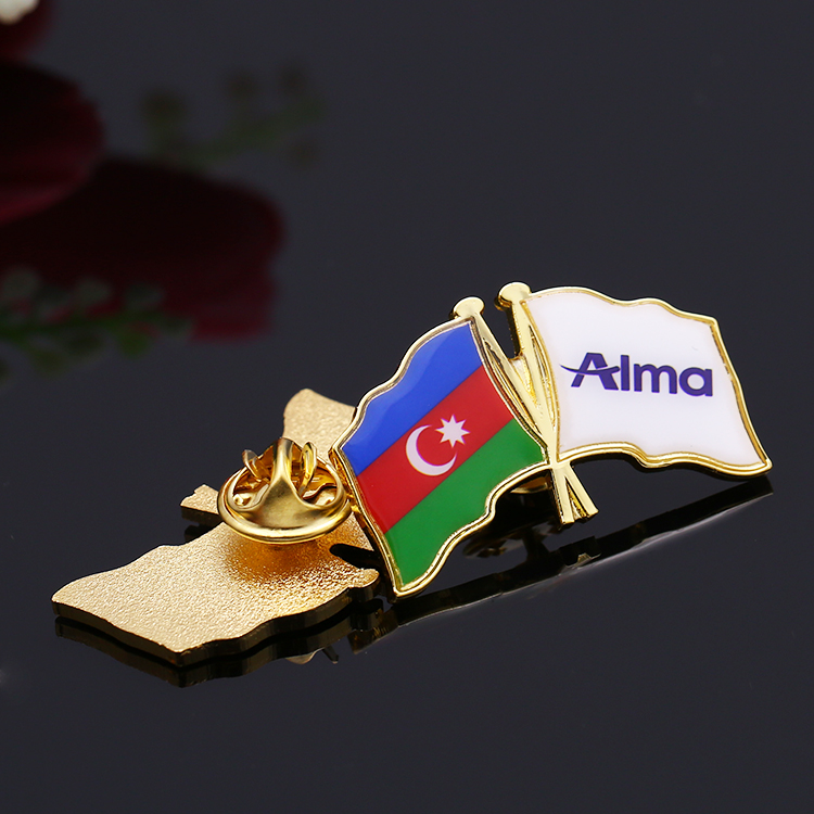 Cheap custom metal zinc alloy gold enamel plus epoxy national country flag lapel pin for Alma