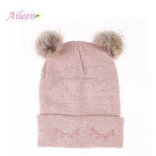 Hot sell pom pom knit sleeping hat