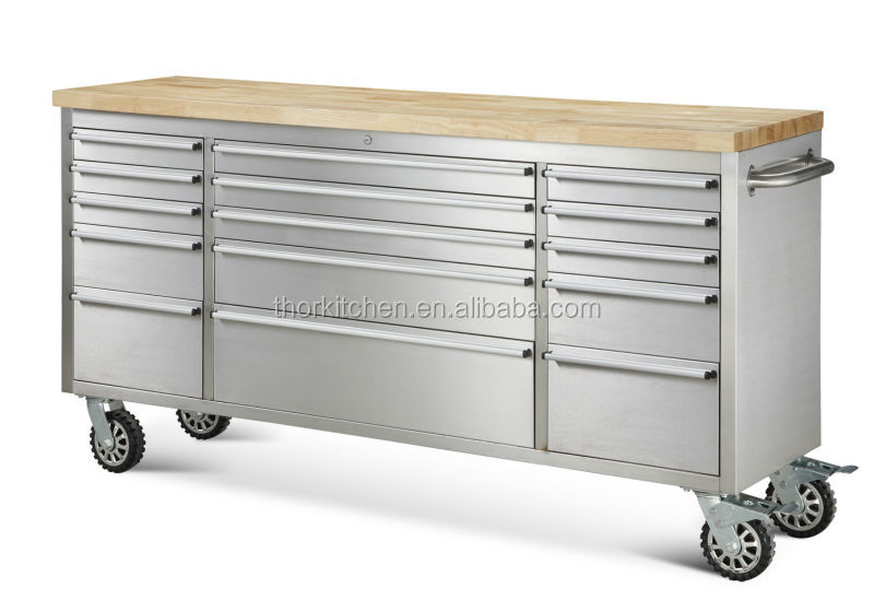 "72"" stainless steel toolbox/roller toolbox with drawers"