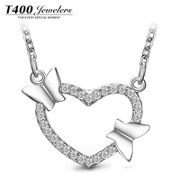 T400 Fashion Jewelry 2016 heart and butterfly pendant necklace 925 sterling Silver 11017