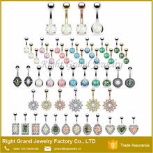 Unique Design 316L Non Piercing Navel Ring CZ and Opal Flower Free Solid Plated Belly Button Rings