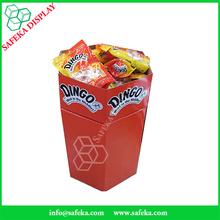 Merchandising shop fittings convenience store display racks cardboard dump bin display for snacks