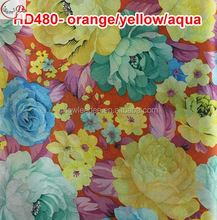 HD480--orangeyellowaqua African ladies beautiful sego head wrap /fancy party headtie wear