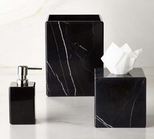 Yeeho Black Marble Bath Ware Bathroom Accessories Set Liquid Soap