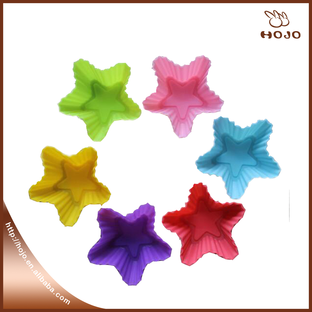 6colors Star Shape Press Mold Shaped Silicone Mold Cake Decoration Fondant Cake 3D Food Grade Silicone Chocolate Mould