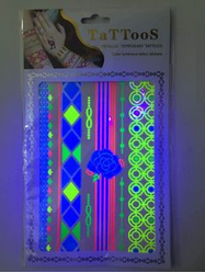 2015 New Glow In The Dark Temporary Tattoo, eco-friendly temporary metallic tattoos