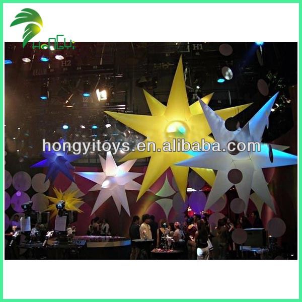 Colorful Inflatable LED Light Star Hanging Floating Balloon For Festival Decoration